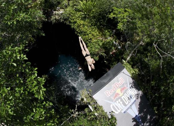 Cliff Diver in Yucatan at Red Bull World Series